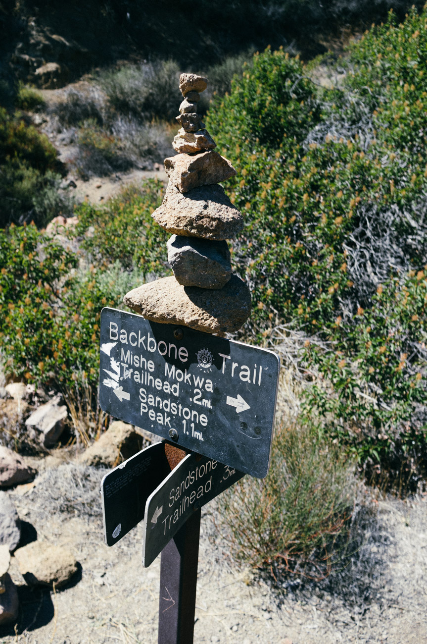 One of many signs along the Backbone Trail - Mt. Allen - Let's Photo Trip