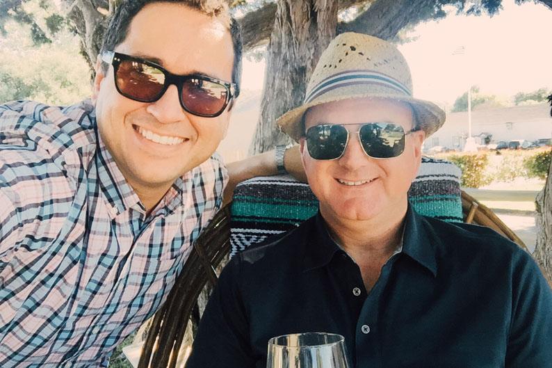 Gabe & Steve outside Muni Wine - Los Alamos - Let's Photo Trip