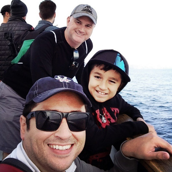 Steve, Ethan and Gabe en route to Anacapa Island. Let's Photo Trip!