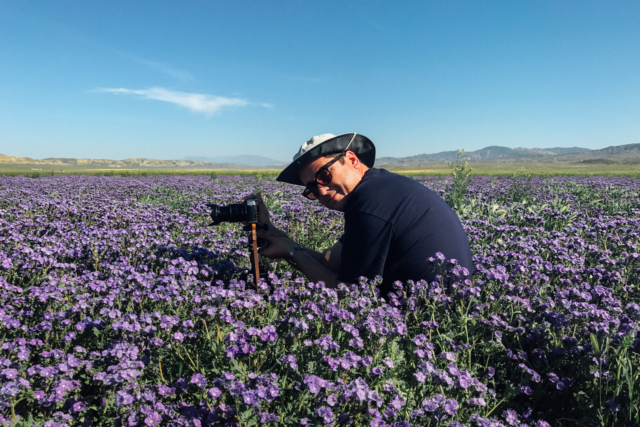 Gabe setting up his shot at Carrizo Plain. Let's Photo Trip