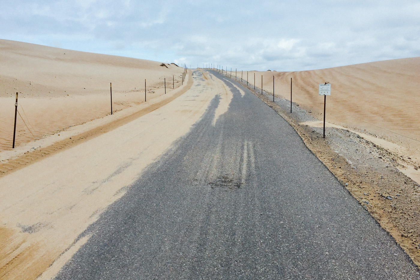 Road leading into the Guadalupe Dunes ~ Photo taken on an iPhone
